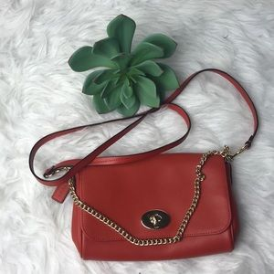 Coach Ruby Crossbody In Carmine Purse Chain Accent